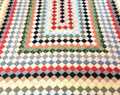 Postage Stamp Quilt 1960s Hand Sewn Huge - Fits Queen or Standard King