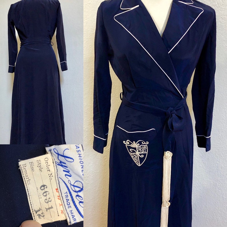 71e1a215d Vintage Insignia Robe NWT, 1940s Women's Smoking Jacket Royal Blue, Size  Small, ! White Piping, Belt with White Tassels, Nautical