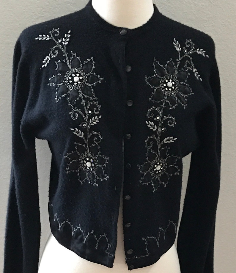 f0e11b99966d Sale Black Beaded Cardigan Sweater with Black Floral Design