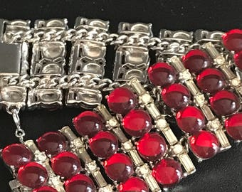 50s Vintage Bracelet Wide Cuff All Rhinestones Cabochons and Channel Set in Red & Crystal on Silver Tone Chain and Links // Hollywood Regeny