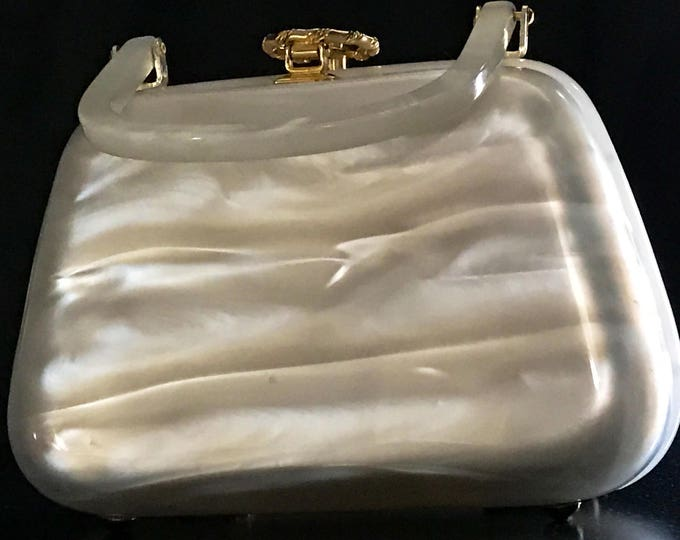 Featured listing image: Vintage Purse White Pearlized Lucite Handbag, great for special occasions, brides, 1940s Stylecraft Branded, Gold Hardware, MINT Condition