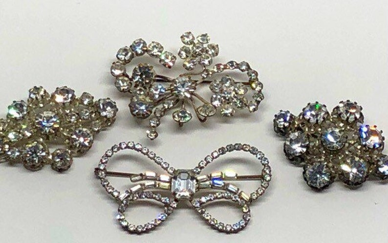 Vintage Brooches signed Austria Circa 1930s Lot of Crystal Pins Clear Rhinestones