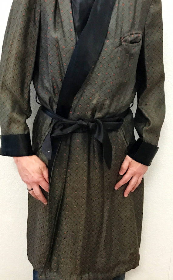 2019 original huge discount kid Vintage Smoking Jacket Robe Mens Size Med by Royal Robes, Circa 1940s,  Black with White Brocade and Small Orange Diamond Design, Sumptuous