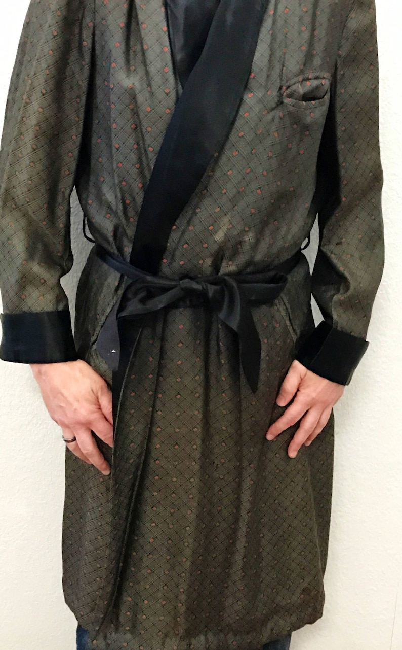 07d4539a4 Vintage Smoking Jacket Robe Mens Size Med by Royal Robes, Circa 1940s,  Black with White Brocade and Small Orange Diamond Design, Sumptuous