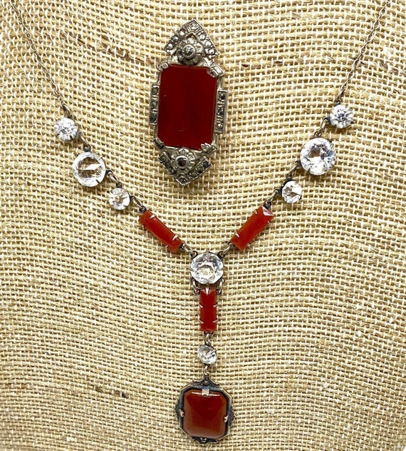 Carnelian & Sterling Necklace and Dress Clip 1910-