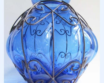 Large Vintage Mid Century 70's Blue Italian, Cage Blown Glass Murano Vase Bowl