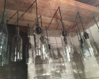 Large wine bottle chandelier
