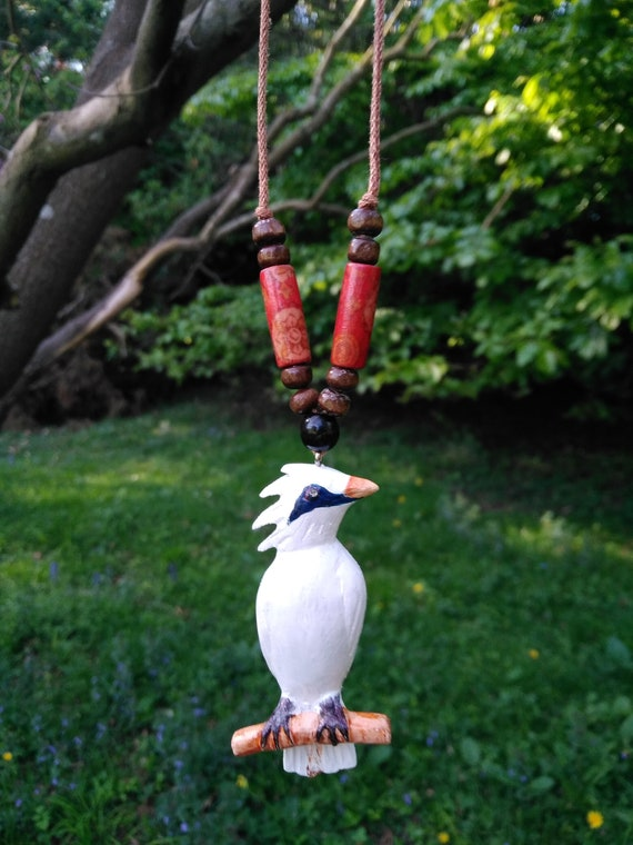 Jalak Bali Bali Starling Bird Necklace With Beautiful Red Etsy