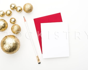 Download Free SET OF 3: Styled Stock Photography, Red Envelope, White Card, Gold Glitter Balls Bangles, Product Mockup Photography Template, Glam Business PSD Template