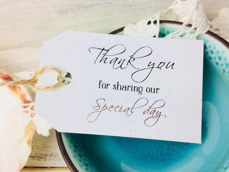 Thank you tags Wedding Favour tags Wedding day Set of 10 image 0