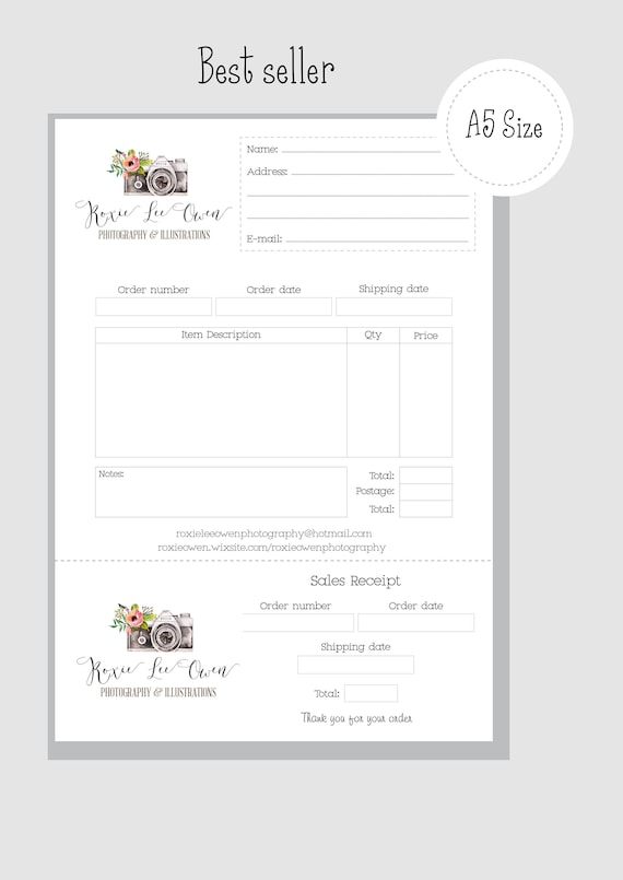 custom order book receipt slip sellers tools a5 size tear etsy