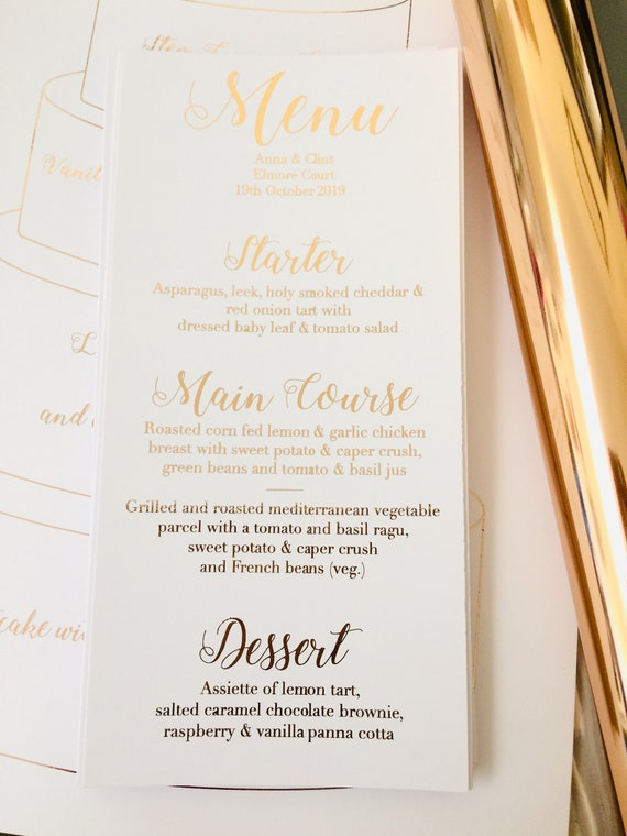 CUSTOM gold Wedding Menu Cards Personalised Menu/'s for Wedding Tables Print