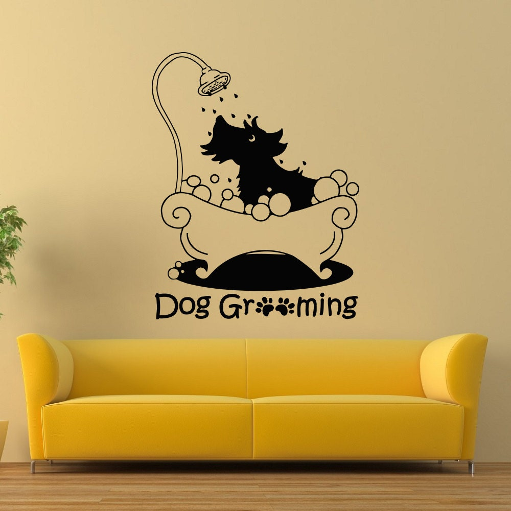 Dog Grooming Wall Decal Pet Grooming Salon Decals Vinyl | Etsy