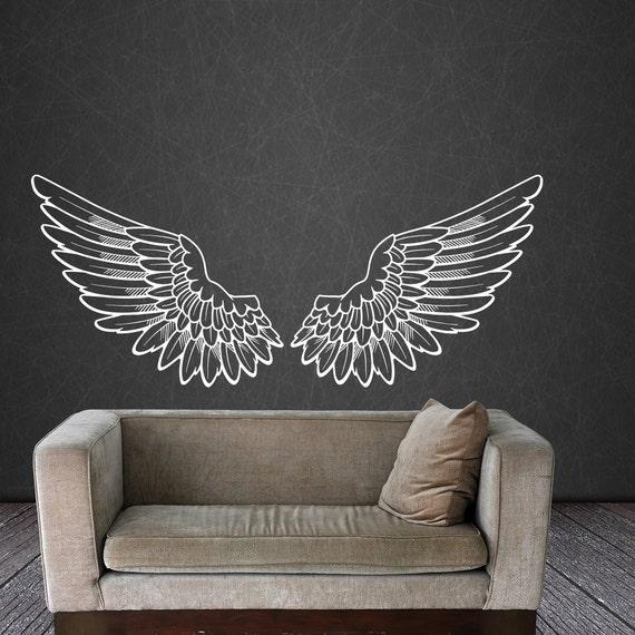 angel wings wall decal vinyl sticker decals bird god big wings   etsy