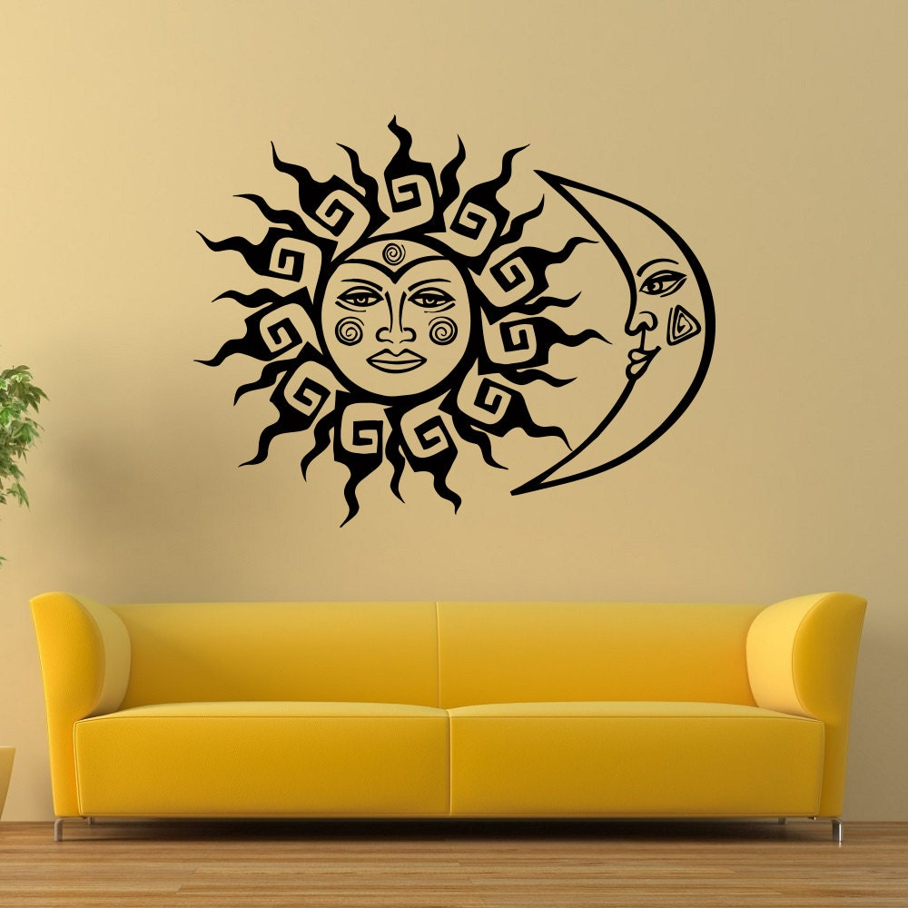 Wall Decal Vinyl Sticker Sun And Moon Crescent Ethnic Dual | Etsy