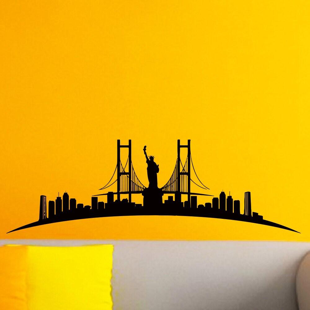 New York Skyline City Silhouette Wall Vinyl Decal New York   Etsy