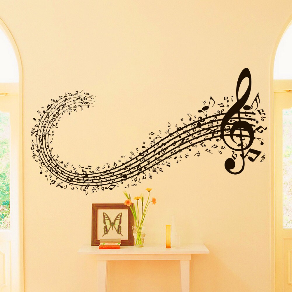Musicl Wall Decal Vinyl Sticker Musical Sign Note Notes Waves | Etsy