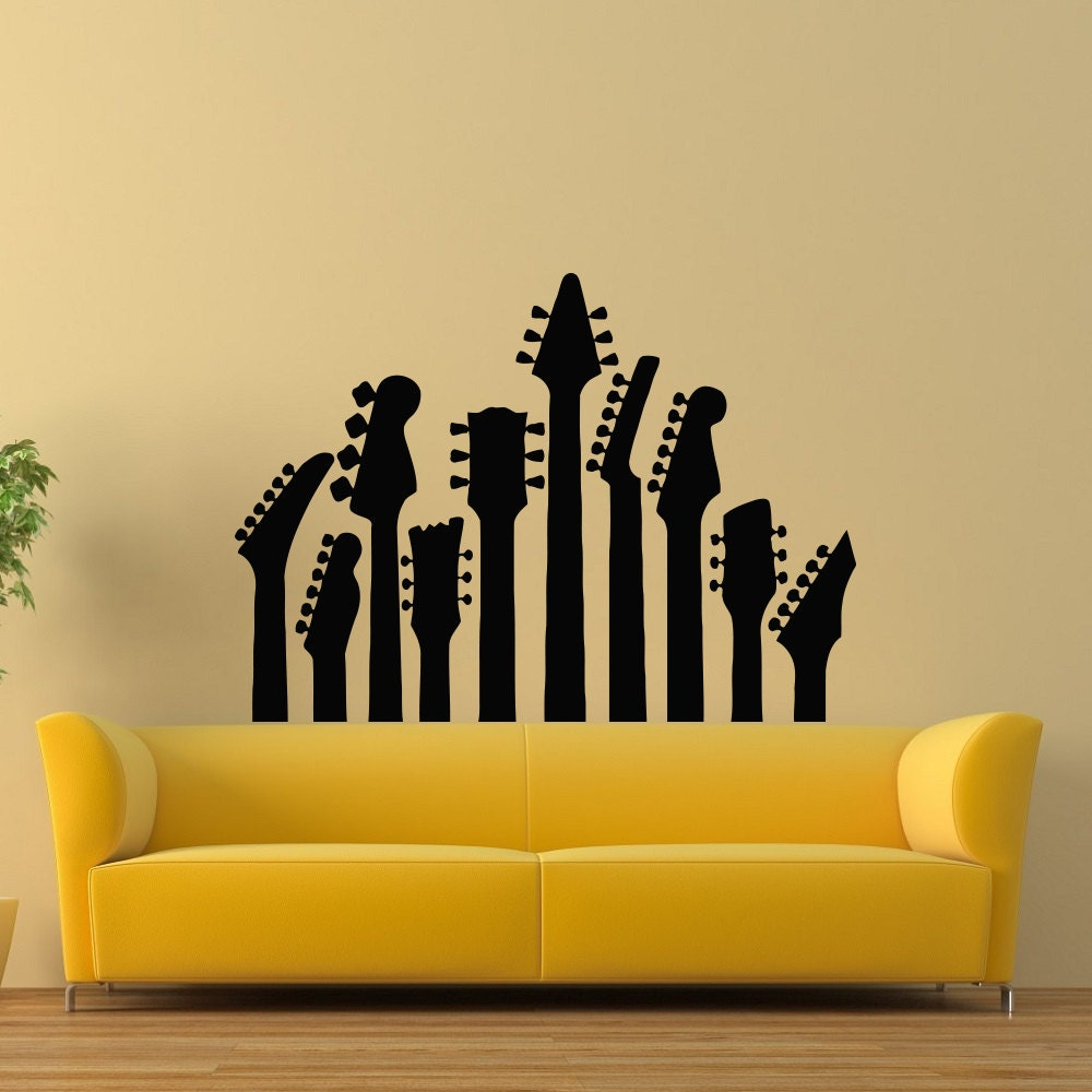 Guitar Wall Decal Music Wall Decal Musical Instrument Decals | Etsy