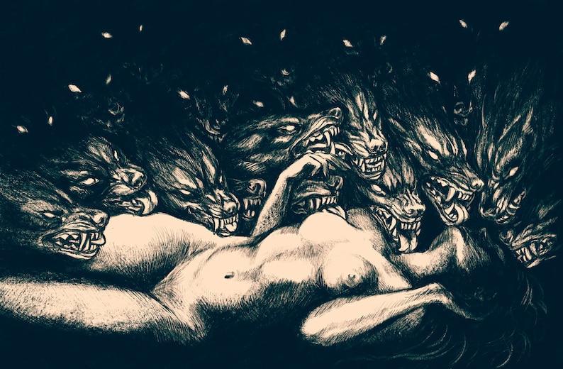 The Feast Lustre print Wolves wolf dark erotic horror macabre art