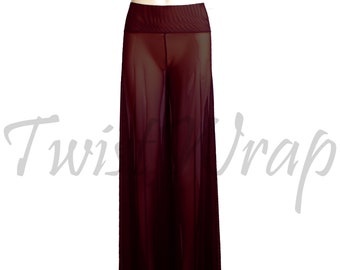 a5b749c6d8a0d Wide Leg Pants Sheer Burgundy Pants Wine Mesh Palazzo Trousers See Through  Rave Bottoms Plus Size Boho Pants Sexy Festival Outfits