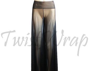 701a336058 Palazzo Pants Black Mesh Trousers Wide Leg Pants Sheer Pants Sexy Festival  Bottom Plus Size Boho Pants See Through Pants Beach Pants