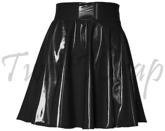 0443345e8ef Vinyl Skirt PVC Flare Skirt Black Latex Gothic Clothing Plus Size Patent  Leather Punk Outfit