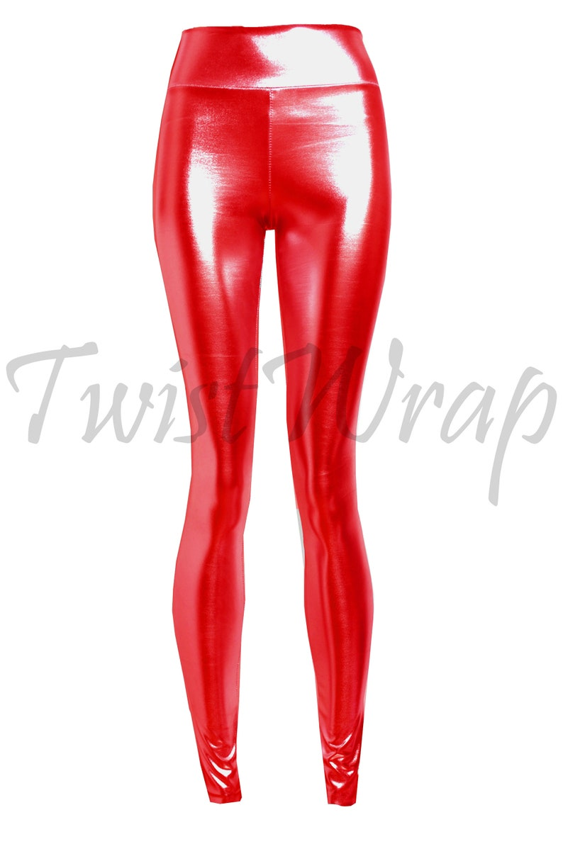 ed1529840fcfc Metallic Leggings Red Shiny Tights Plus Size Pants High Waist