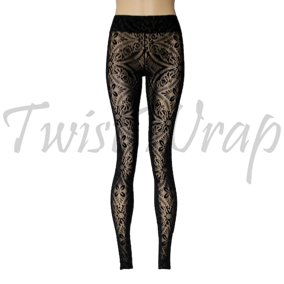 f8173673940bf Burnout Velvet Leggings Black Sheer Tights See Through Pants