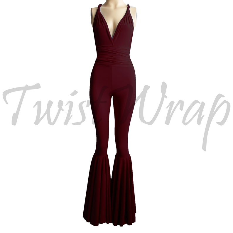 0fdd88469587 Convertible Wine Jumpsuit Bridesmaid Overall Burgundy Infinity