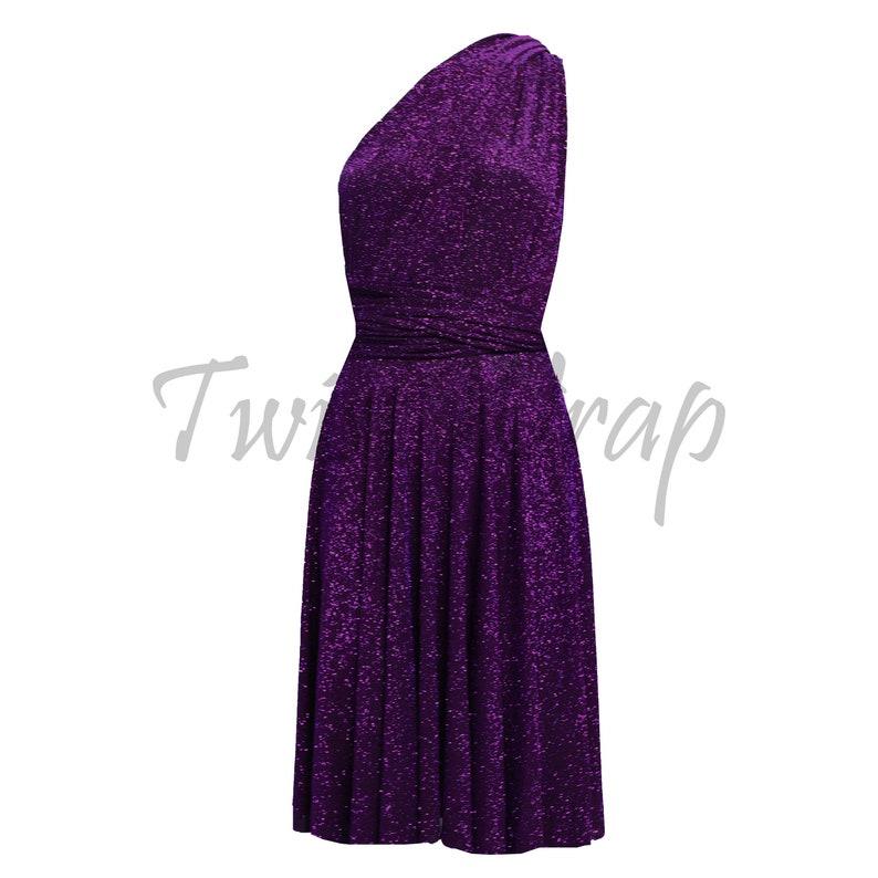 3a614a1564 Plum Bridesmaids Dress Infinity Metallic Gown Short