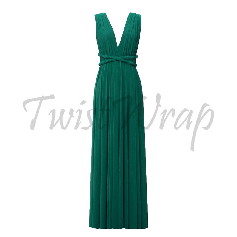 677620b6868 Infinity Bridesmaid Dress Emerald Green Convertible Gown Prom