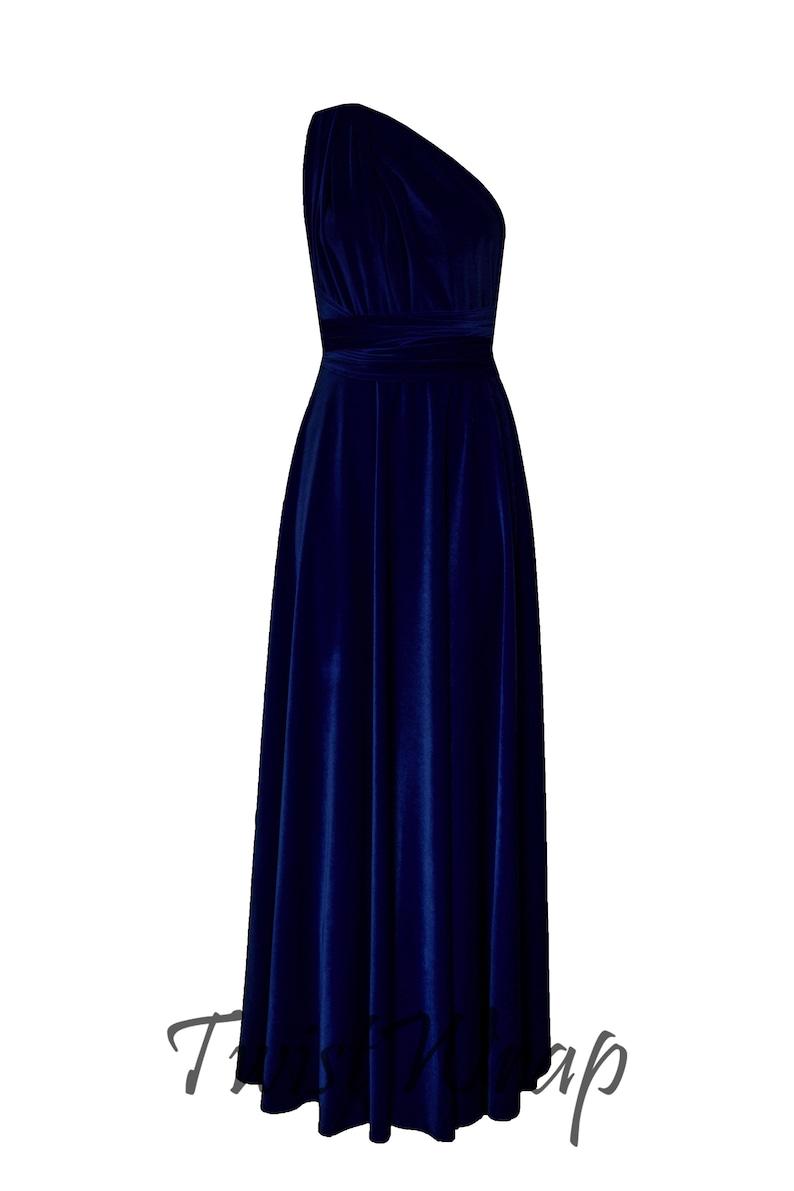 67985c0318c0 Bridesmaids Dress Velvet Navy Blue Dress Infinity Dress Long | Etsy
