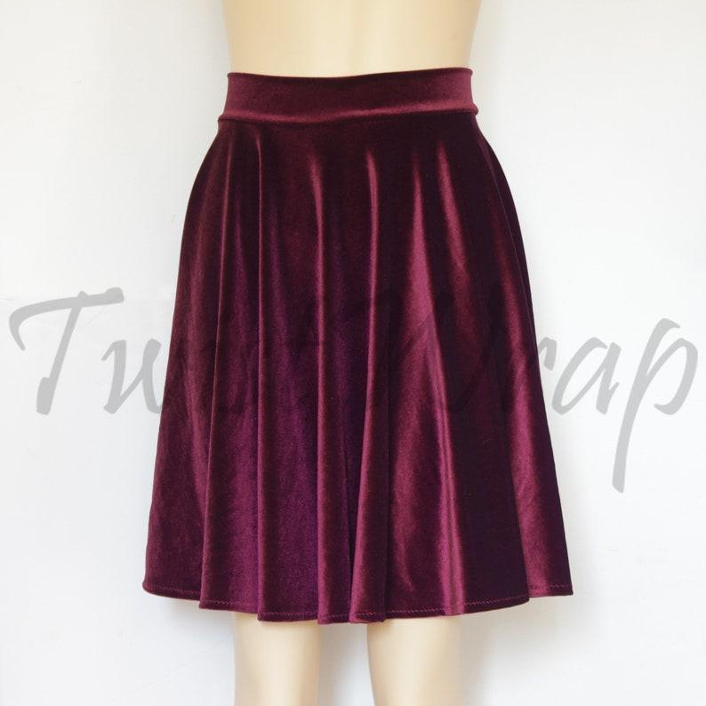 07a695323985 Wine Velvet Skirt Burgundy Skater Skirt Plus Size Circle Skirt   Etsy