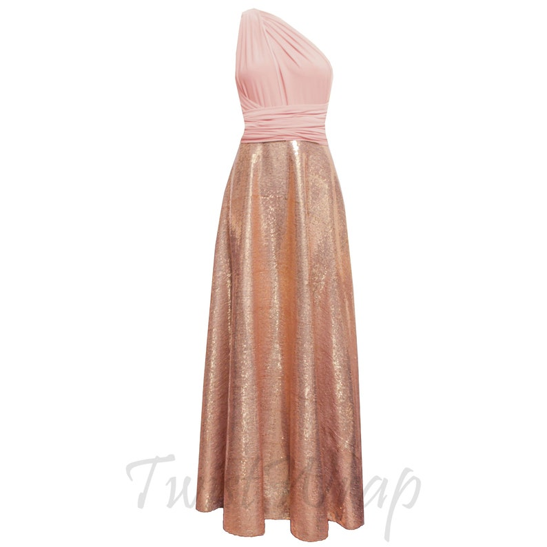 484f14aa552 Rose Gold Bridesmaid Dress Infinity Sequin Dress Plus Size
