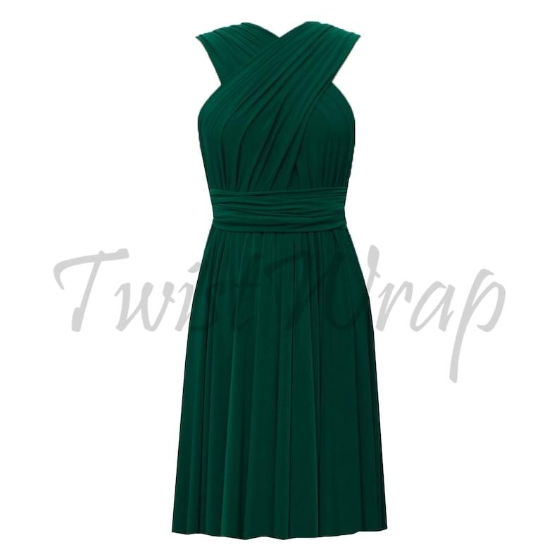 371aec8447 Convertible Bridesmaid Dress Dark Green Infinity Dress Knee Length Dress  Prom Outfit Multi Way Short Skirt Plus Size Formal Evening Dress