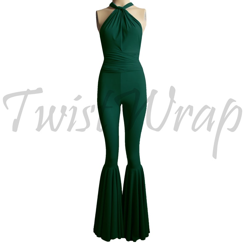 633929cf990a Infinity Jumpsuit Dark Green Overall Convertible Romper Wrap