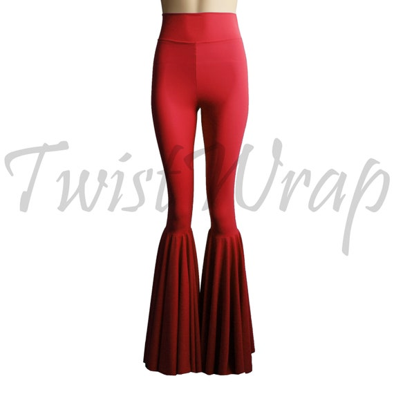 5c6c8b3153902 Bell Leggings Red Flare Pants High Waist Tights Festival