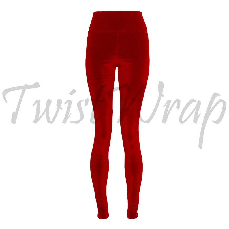 286d0827fc7dc Velvet Leggings Red Tights Plus Size Pants High Waist Slim Leg