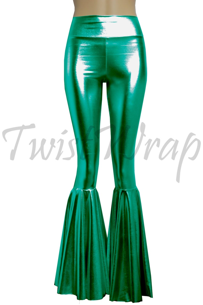 992c9e50412a9 Metallic Pants Green Flare Pants Bell Bottoms Liquid Disco | Etsy