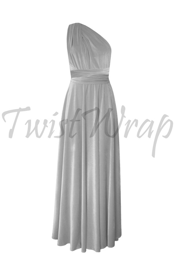 8507da9e91d Silver Gray Velvet Dress Infinity Bridesmaid Dress Long