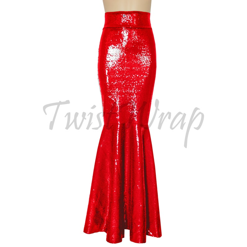 0723f38188 Mermaid Skirt Sequin Red Skirt Bridesmaids Separates Fit &   Etsy