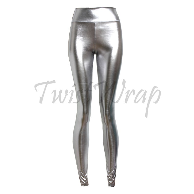 a7a354cab2d456 Metallic Leggings Silver Shiny Tights High Waist Plus Size | Etsy
