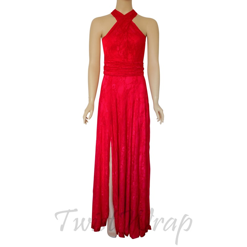 Red Lace Dress Infinity Bridesmaid Dress High Slit Prom Gown Convertible Maxi Dress Maternity Evening Gown Plus Size Wrap Dress Formal Gown