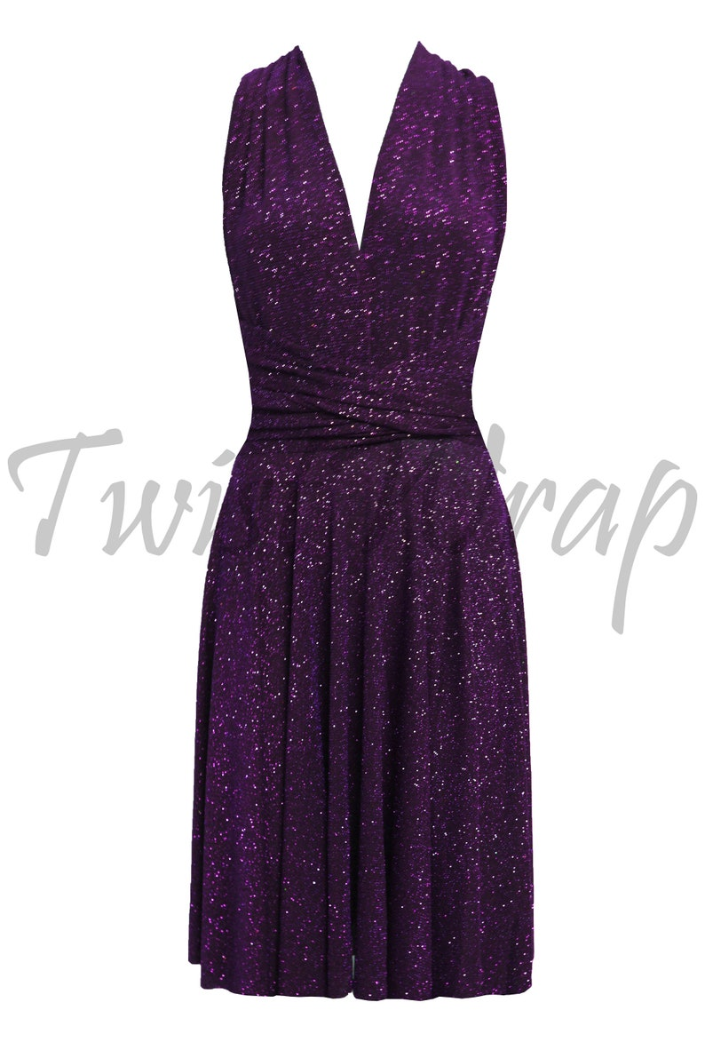 7ab262001e3 Plum Bridesmaids Dress Infinity Metallic Gown Short