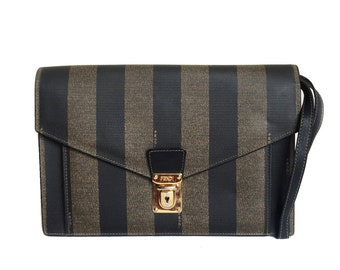f89ffff035 FENDI Vintage Black   Brown Striped Clutch Bag