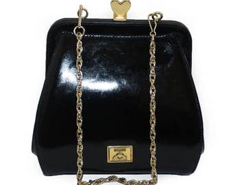 c8fc2e0cd4167 MOSCHINO by REDWALL Rare Vintage Black Patent Leather Evening Clutch Bag