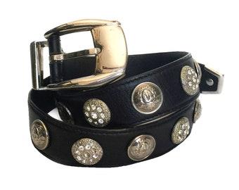 1f9a99e327 GIANNI VERSACE Vintage Black Silver Medusa Leather Belt