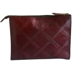 YSL YVES Saint Laurent Vintage Burgundy Leather Clutch Bag