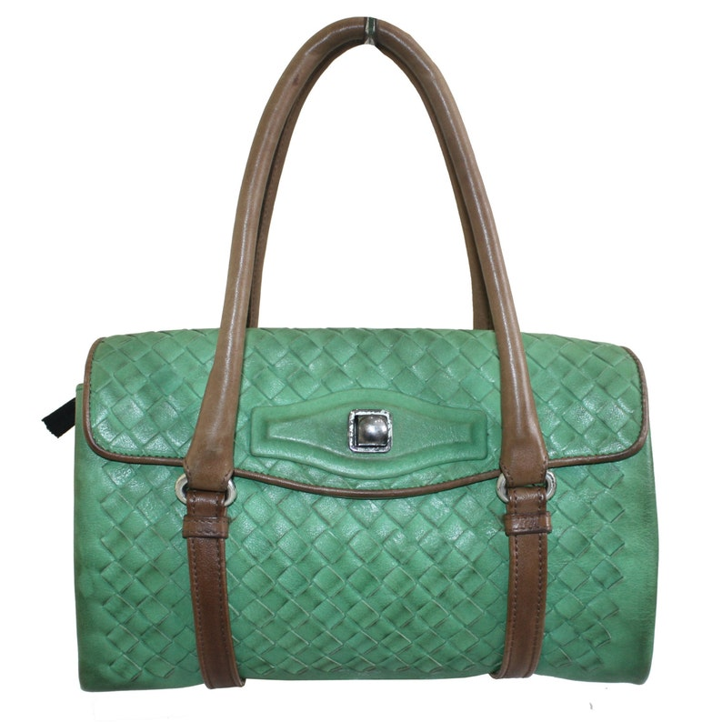 1c34a4c25a Bottega Veneta Vintage Green Wove Leather Bag