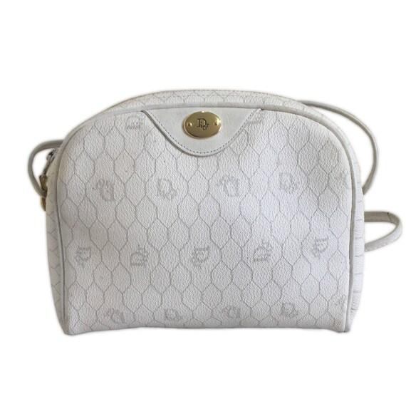 CHRISTIAN DIOR White Vintage Monogram Shoulder Bag